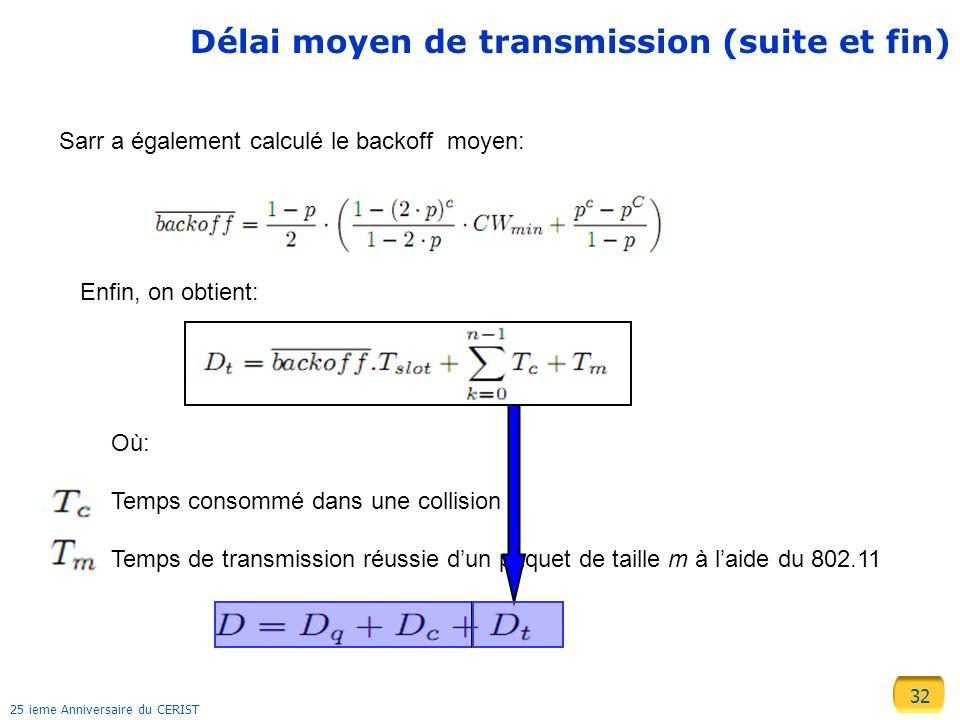 32 25 ieme Anniversaire du CERIST Délai moyen de transmission (suite et fin) Sarr a également calculé le backoff moyen: Enfin, on obtient: Où: Temps c