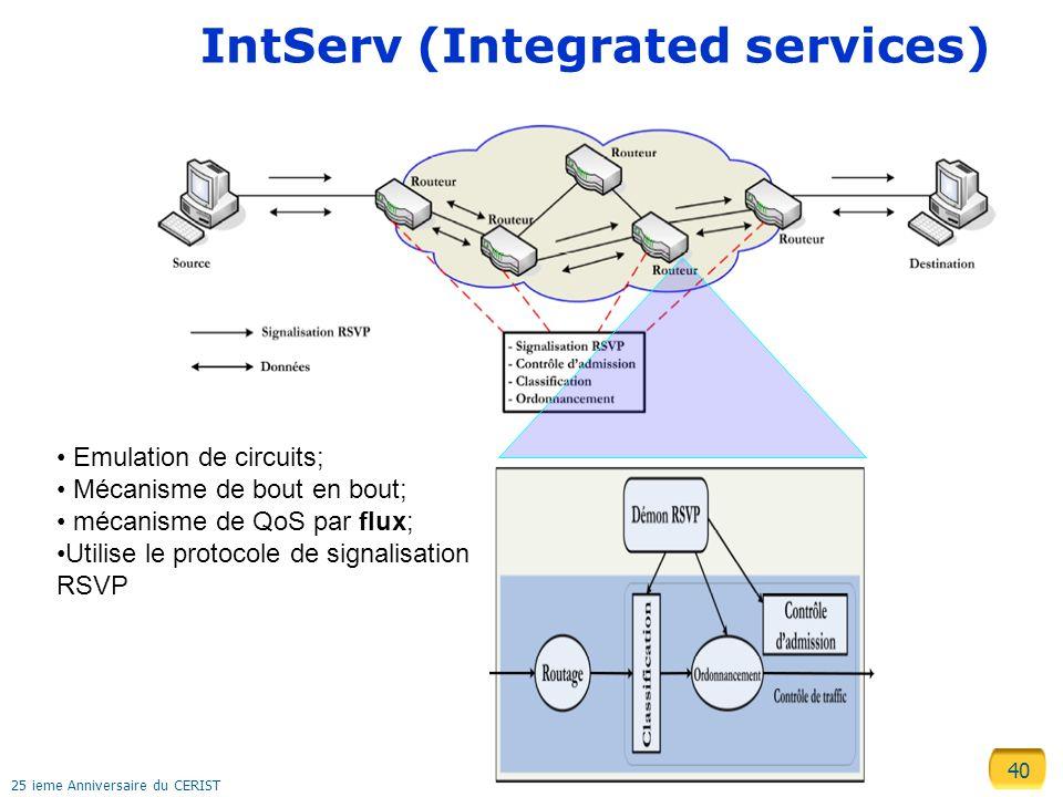 40 25 ieme Anniversaire du CERIST IntServ (Integrated services) Emulation de circuits; Mécanisme de bout en bout; mécanisme de QoS par flux; Utilise l