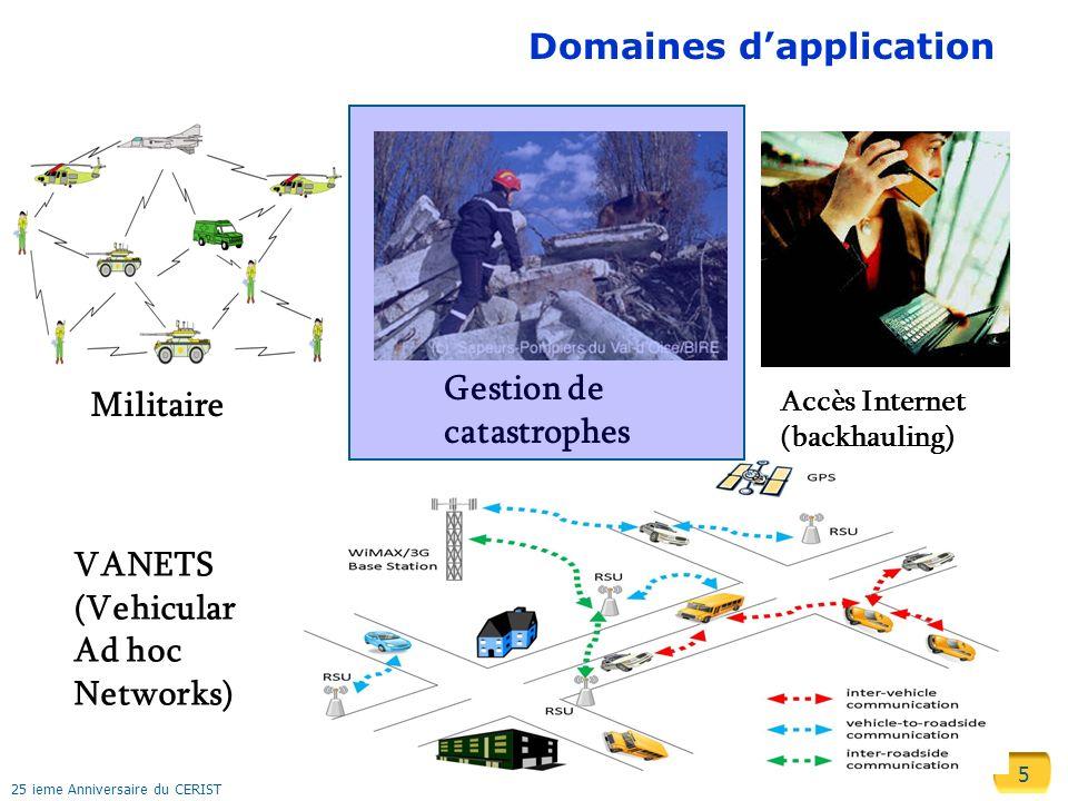 5 25 ieme Anniversaire du CERIST Domaines dapplication Militaire Gestion de catastrophes Accès Internet (backhauling) VANETS (Vehicular Ad hoc Network