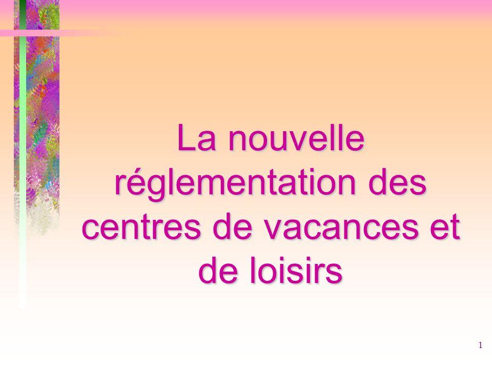 1 La nouvelle réglementation des centres de vacances et de loisirs