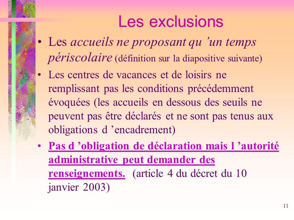 11 Les exclusions Les exclusions Les accueils ne proposant qu un temps périscolaire (définition sur la diapositive suivante) Les centres de vacances e