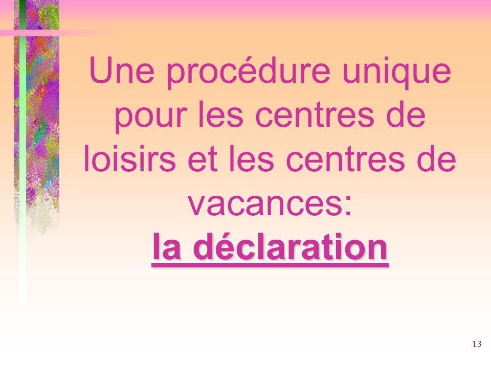 13 la déclaration Une procédure unique pour les centres de loisirs et les centres de vacances: la déclaration
