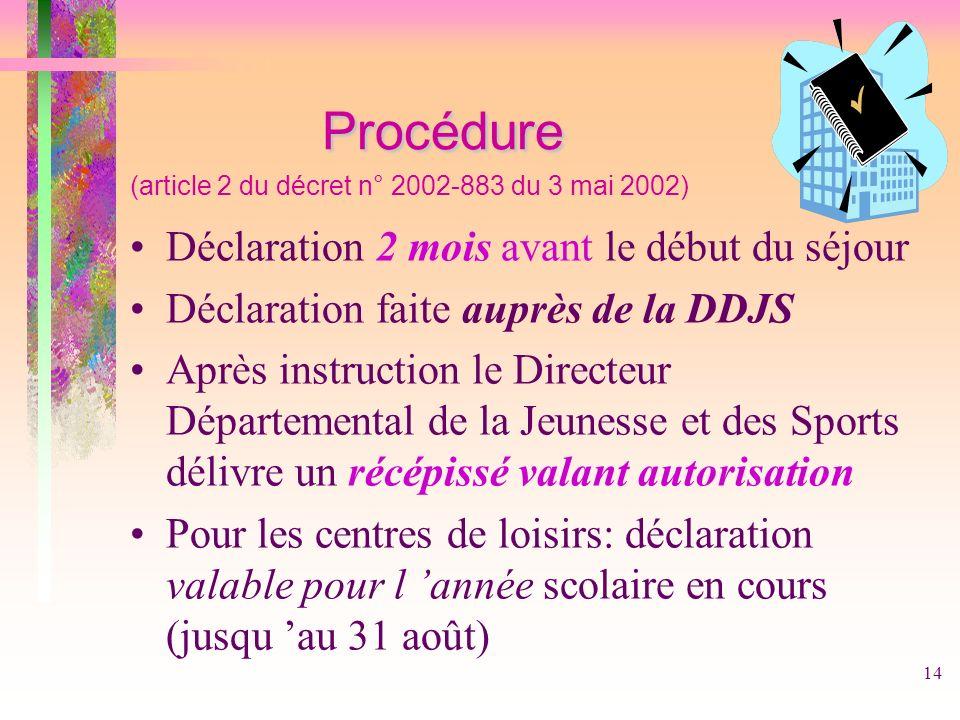 14 Procédure Procédure (article 2 du décret n° 2002-883 du 3 mai 2002) Déclaration 2 mois avant le début du séjour Déclaration faite auprès de la DDJS