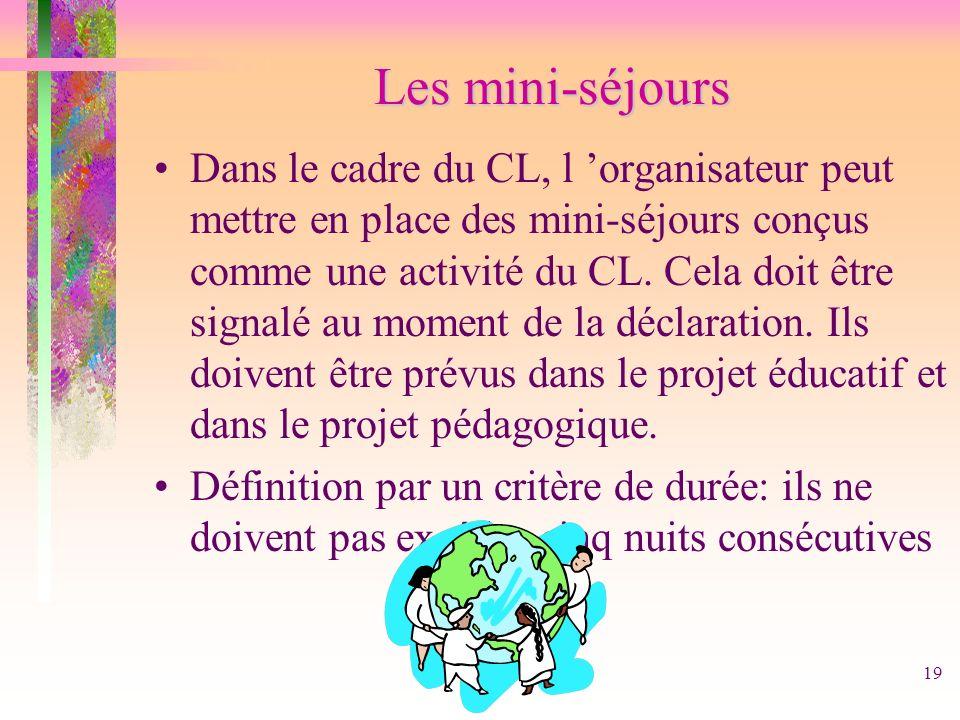 19 Les mini-séjours Dans le cadre du CL, l organisateur peut mettre en place des mini-séjours conçus comme une activité du CL. Cela doit être signalé