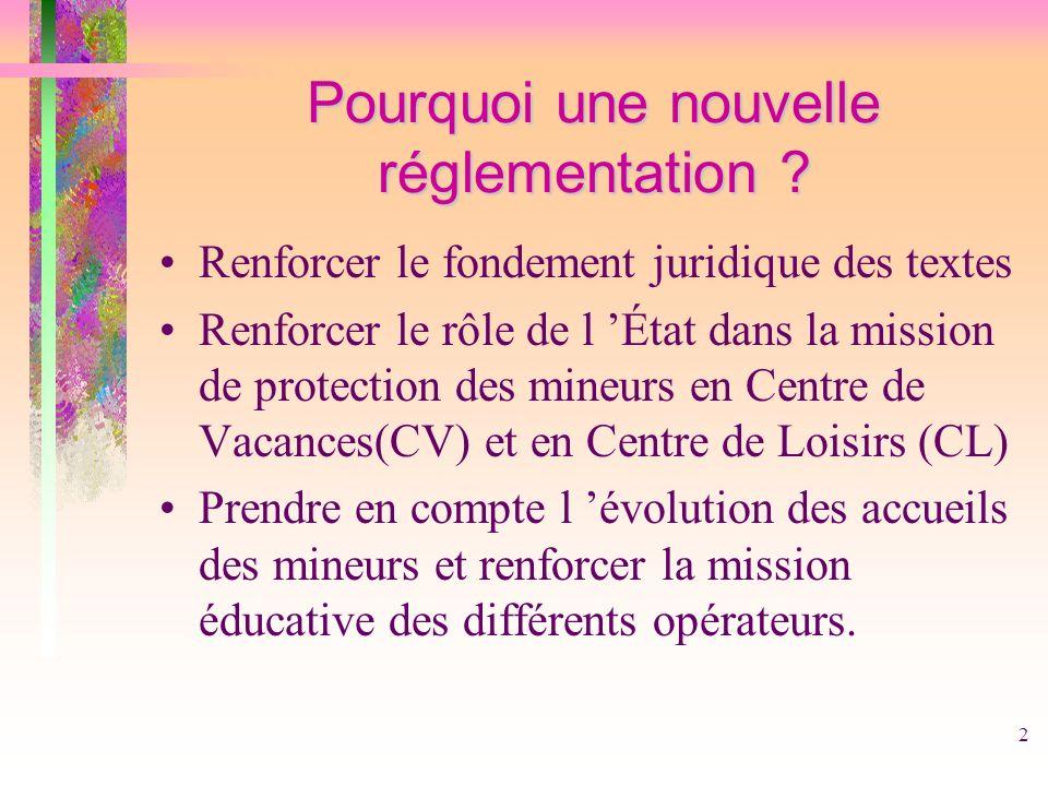2 Pourquoi une nouvelle réglementation ? Renforcer le fondement juridique des textes Renforcer le rôle de l État dans la mission de protection des min