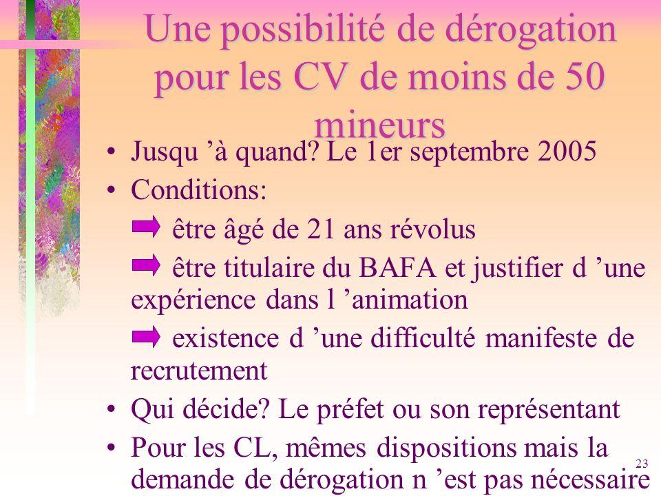 23 Une possibilité de dérogation pour les CV de moins de 50 mineurs Jusqu à quand? Le 1er septembre 2005 Conditions: être âgé de 21 ans révolus être t