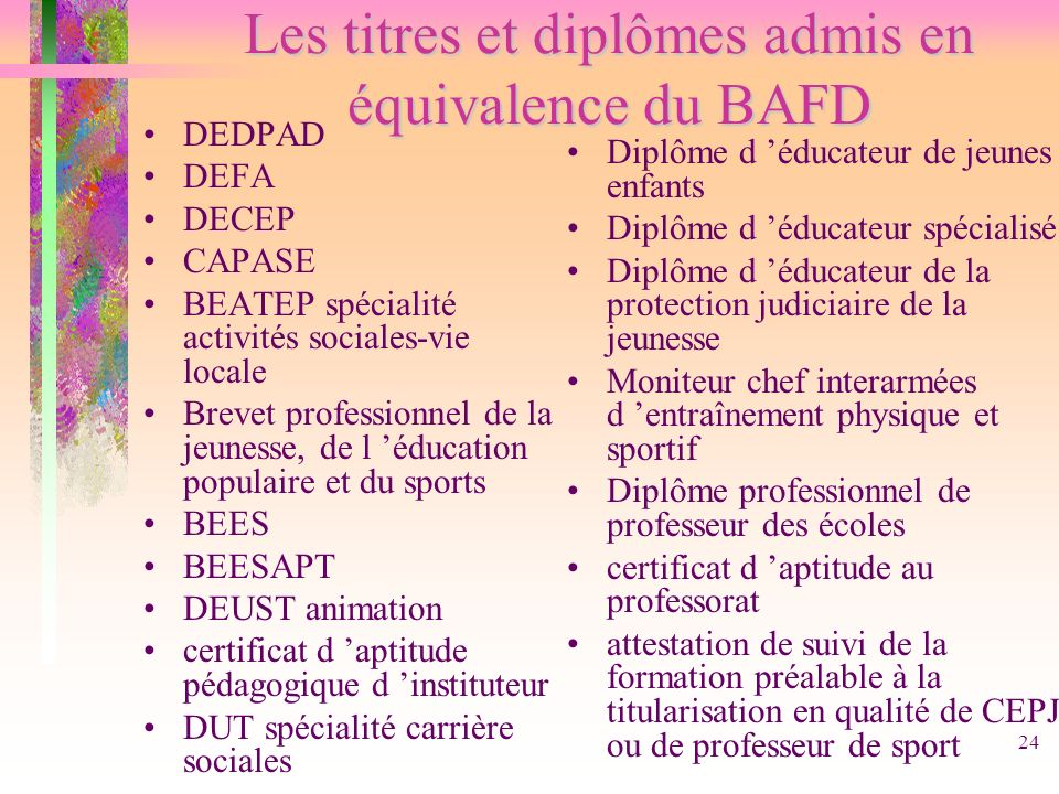 24 Les titres et diplômes admis en équivalence du BAFD DEDPAD DEFA DECEP CAPASE BEATEP spécialité activités sociales-vie locale Brevet professionnel d