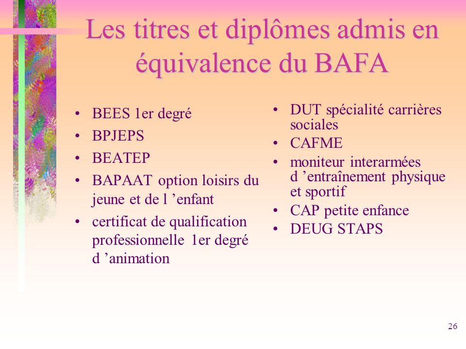 26 Les titres et diplômes admis en équivalence du BAFA BEES 1er degré BPJEPS BEATEP BAPAAT option loisirs du jeune et de l enfant certificat de qualif