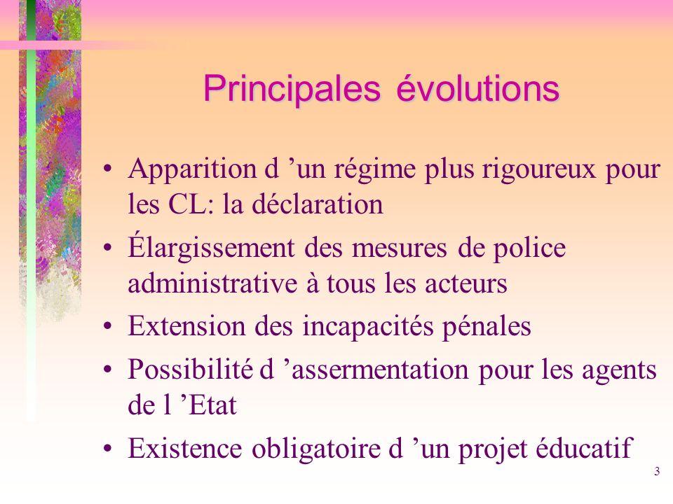 3 Principales évolutions Apparition d un régime plus rigoureux pour les CL: la déclaration Élargissement des mesures de police administrative à tous l