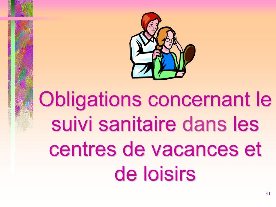 31 Obligations concernant le suivi sanitaire dans les centres de vacances et de loisirs