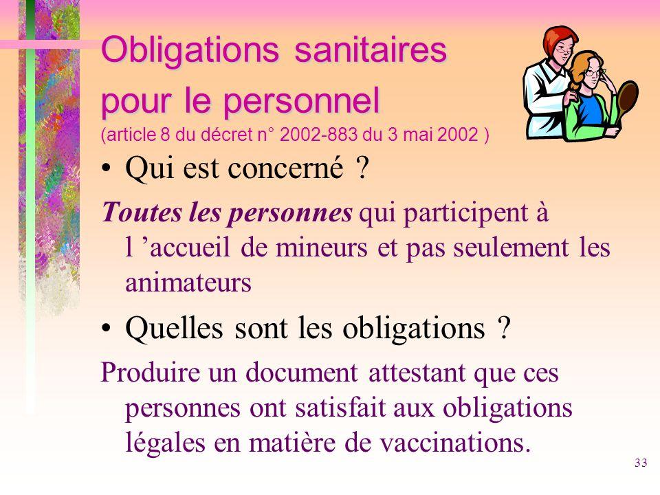 33 Obligations sanitaires pour le personnel Obligations sanitaires pour le personnel (article 8 du décret n° 2002-883 du 3 mai 2002 ) Qui est concerné