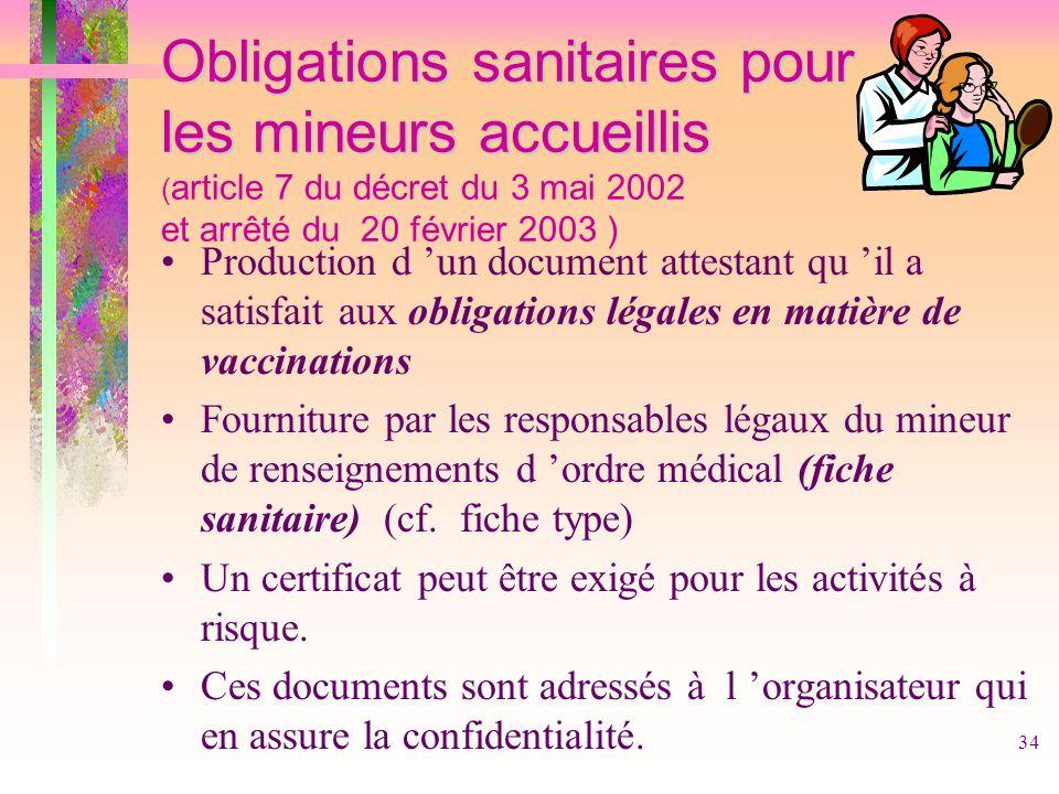 34 Obligations sanitaires pour les mineurs accueillis Obligations sanitaires pour les mineurs accueillis ( article 7 du décret du 3 mai 2002 et arrêté