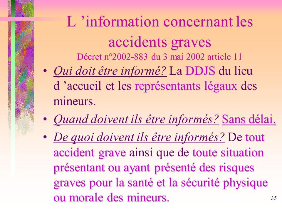 35 L information concernant les accidents graves L information concernant les accidents graves Décret n°2002-883 du 3 mai 2002 article 11 DDJS représe
