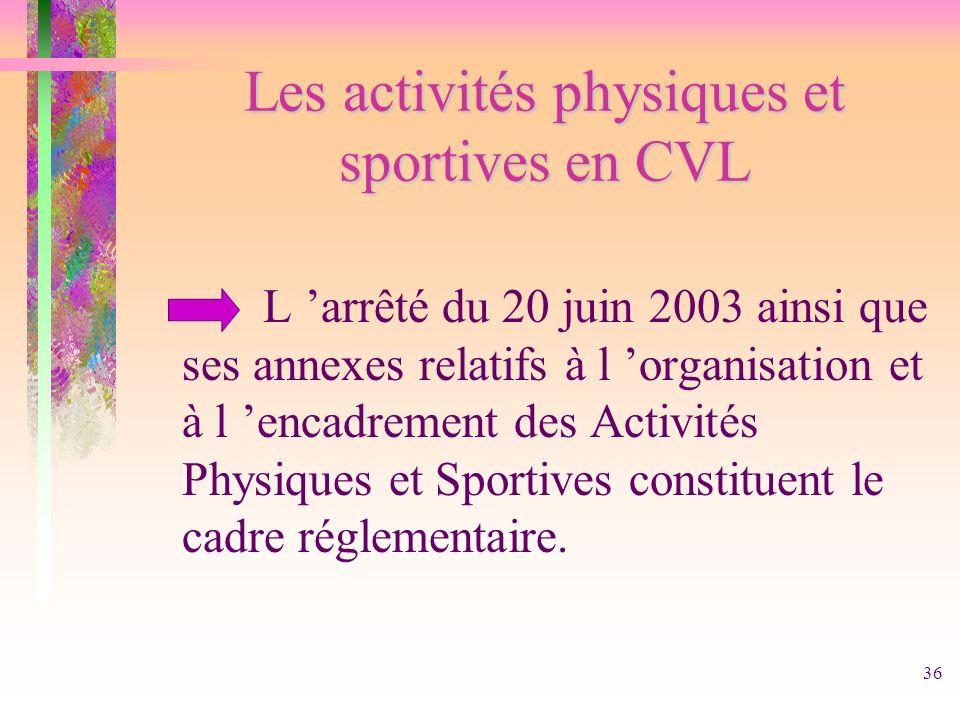 36 Les activités physiques et sportives en CVL L arrêté du 20 juin 2003 ainsi que ses annexes relatifs à l organisation et à l encadrement des Activit