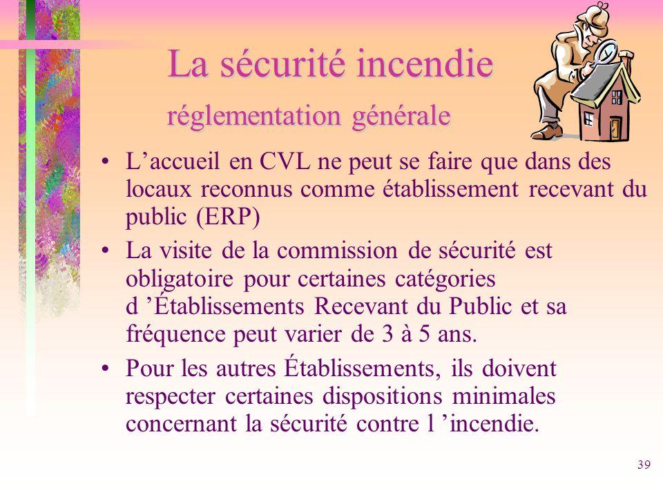 39 La sécurité incendie réglementation générale Laccueil en CVL ne peut se faire que dans des locaux reconnus comme établissement recevant du public (