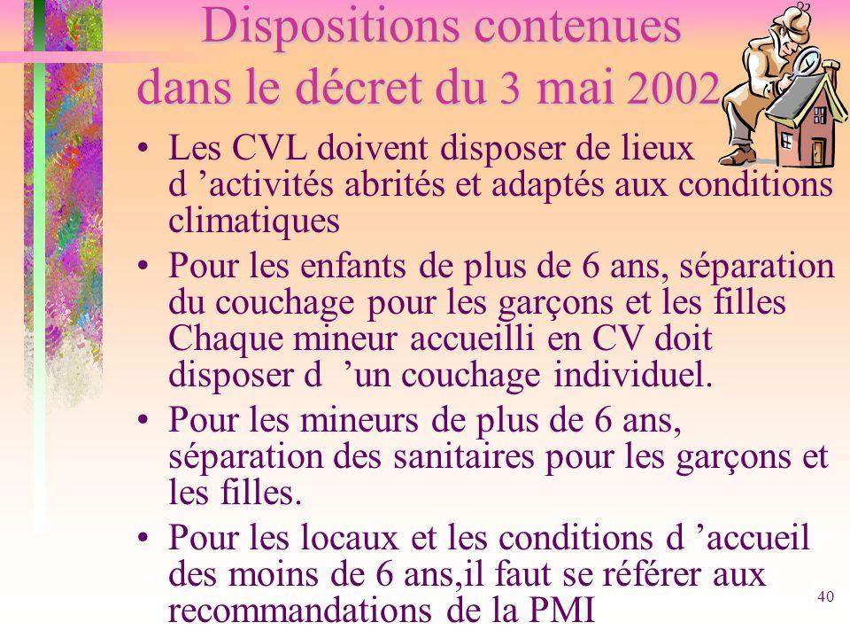 40 Dispositions contenues dans le décret du 3 mai 2002 Dispositions contenues dans le décret du 3 mai 2002 Les CVL doivent disposer de lieux d activit
