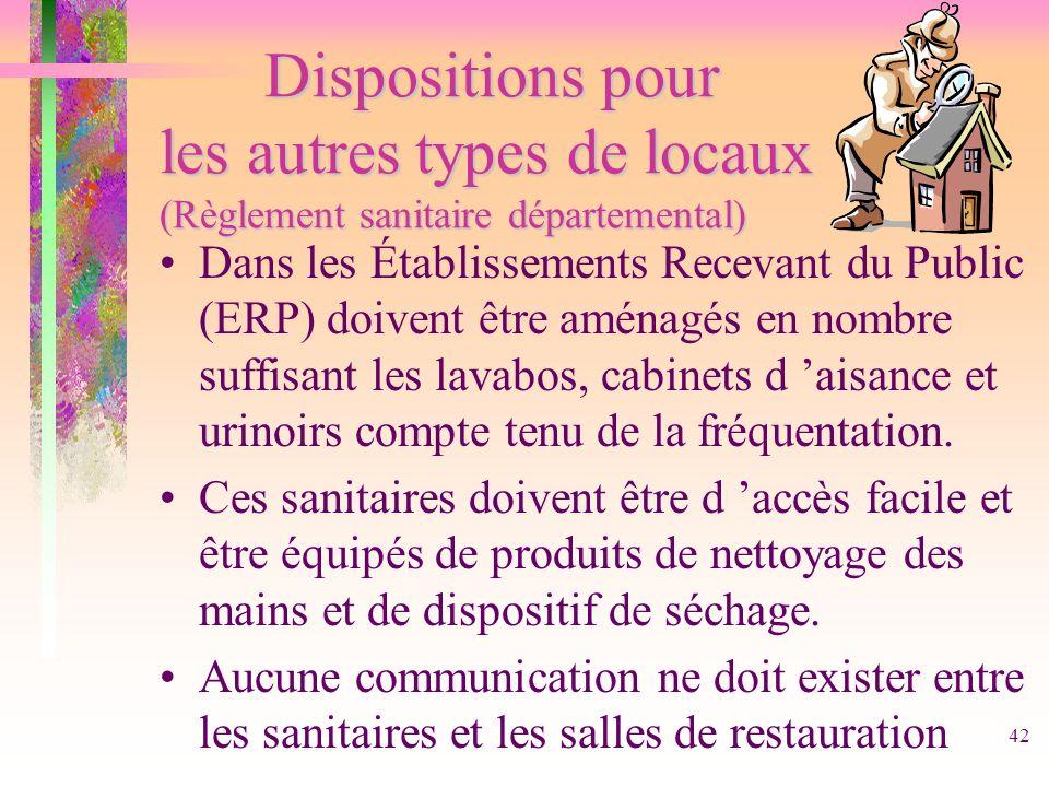 42 Dispositionspour les autres types de locaux (Règlement sanitaire départemental) Dispositions pour les autres types de locaux (Règlement sanitaire d