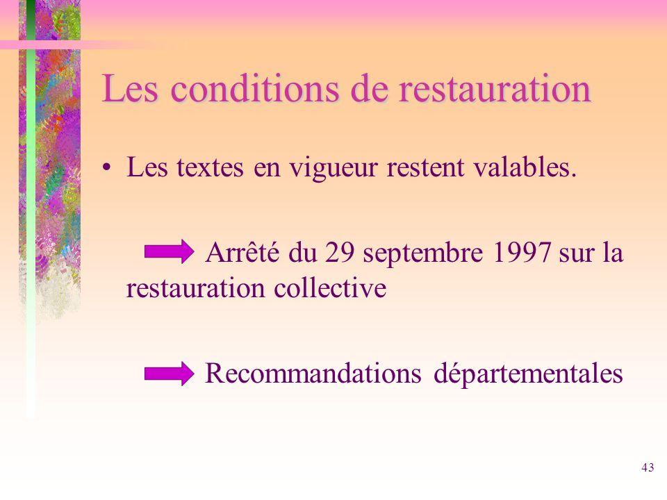 43 Les conditions de restauration Les textes en vigueur restent valables. Arrêté du 29 septembre 1997 sur la restauration collective Recommandations d