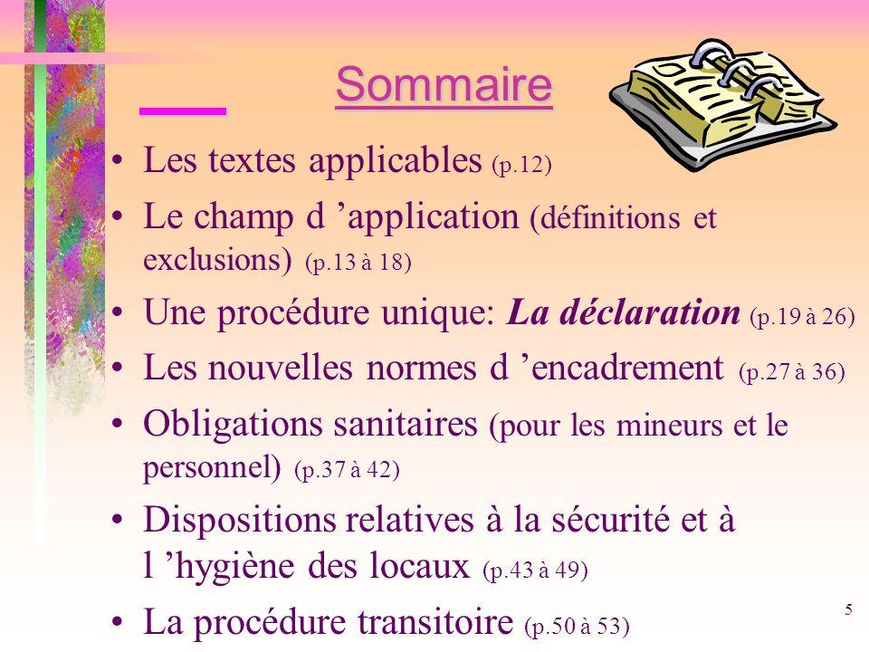 5 Sommaire Les textes applicables (p.12) Le champ d application (définitions et exclusions) (p.13 à 18) Une procédure unique: La déclaration (p.19 à 2