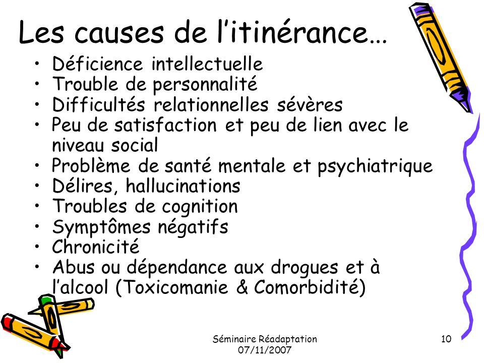 Séminaire Réadaptation 07/11/2007 10 Les causes de litinérance… Déficience intellectuelle Trouble de personnalité Difficultés relationnelles sévères P