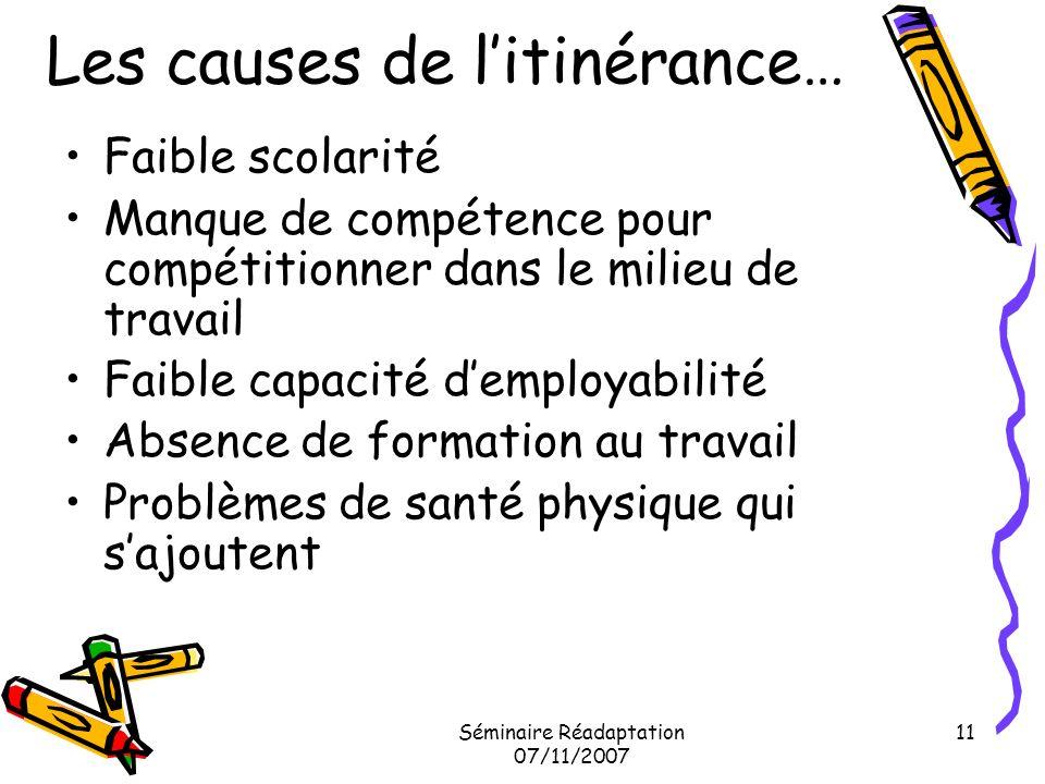 Séminaire Réadaptation 07/11/2007 11 Les causes de litinérance… Faible scolarité Manque de compétence pour compétitionner dans le milieu de travail Fa