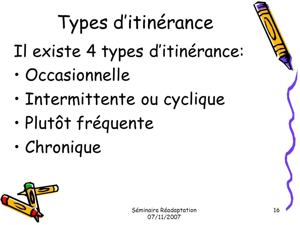 Séminaire Réadaptation 07/11/2007 16 Types ditinérance Il existe 4 types ditinérance: Occasionnelle Intermittente ou cyclique Plutôt fréquente Chroniq