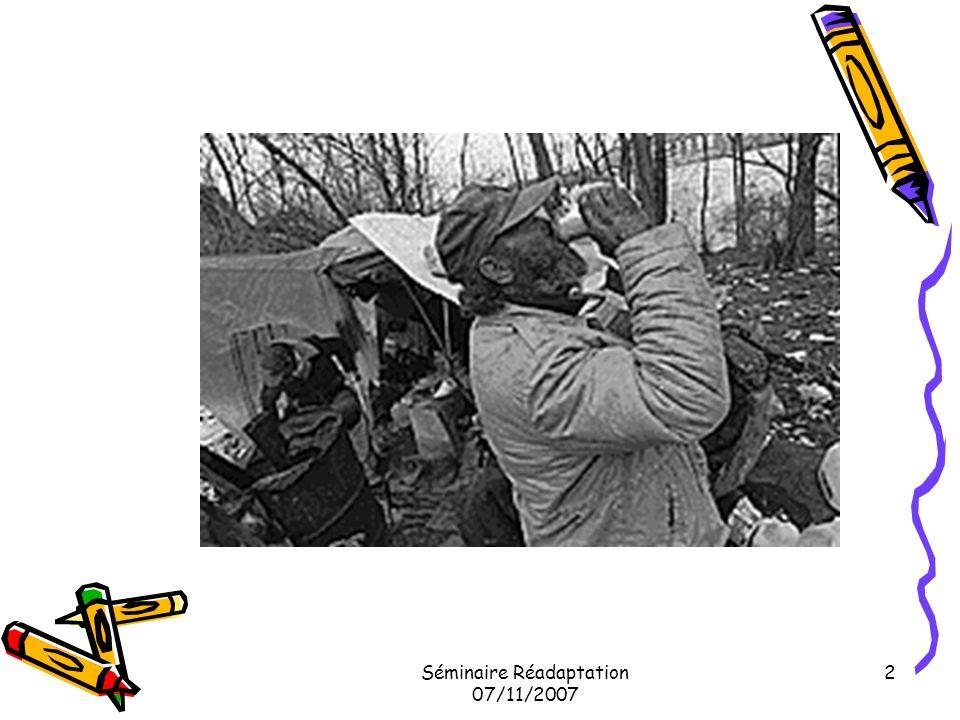 Séminaire Réadaptation 07/11/2007 33 Études canadiennes…suite Maladie mentale Schizophrénie 6 à 10 % (Toronto) Maladie affective 20 à 40 % Abus dalcool 60 % (7x plus que population normale) Drogues 30% (cocaïne, crack) 21% des femmes violées en 99 à Toronto (Hwang S.