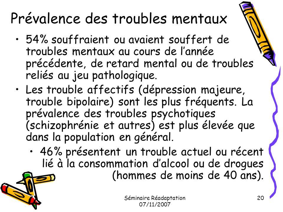 Séminaire Réadaptation 07/11/2007 20 Prévalence des troubles mentaux 54% souffraient ou avaient souffert de troubles mentaux au cours de lannée précéd