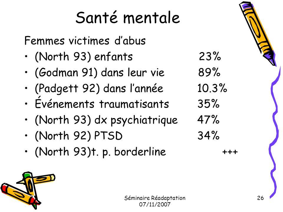 Séminaire Réadaptation 07/11/2007 26 Santé mentale Femmes victimes dabus (North 93) enfants 23% (Godman 91) dans leur vie 89% (Padgett 92) dans lannée