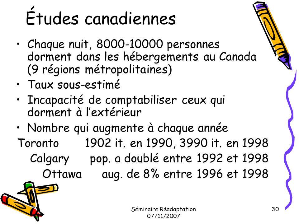 Séminaire Réadaptation 07/11/2007 30 Études canadiennes Chaque nuit, 8000-10000 personnes dorment dans les hébergements au Canada (9 régions métropoli