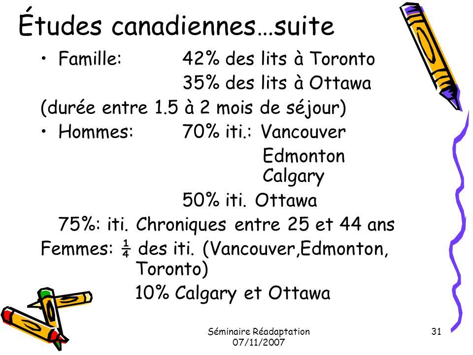 Séminaire Réadaptation 07/11/2007 31 Études canadiennes…suite Famille:42% des lits à Toronto 35% des lits à Ottawa (durée entre 1.5 à 2 mois de séjour