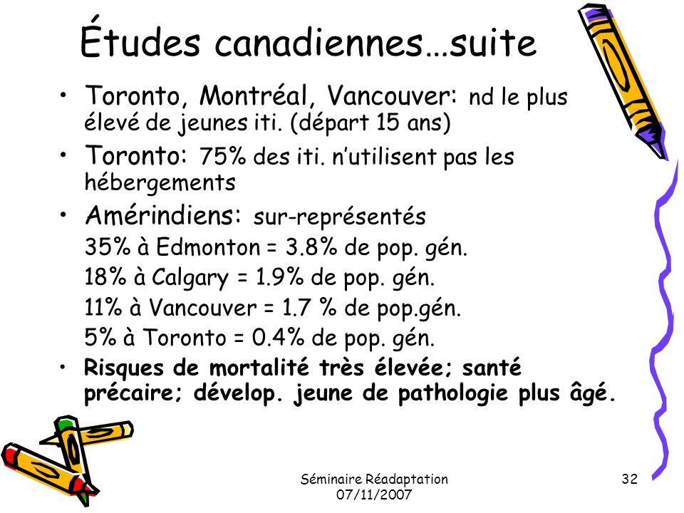 Séminaire Réadaptation 07/11/2007 32 Études canadiennes…suite Toronto, Montréal, Vancouver: nd le plus élevé de jeunes iti. (départ 15 ans) Toronto: 7