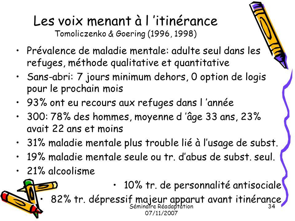 Séminaire Réadaptation 07/11/2007 34 Les voix menant à l itinérance Tomoliczenko & Goering (1996, 1998) Prévalence de maladie mentale: adulte seul dan