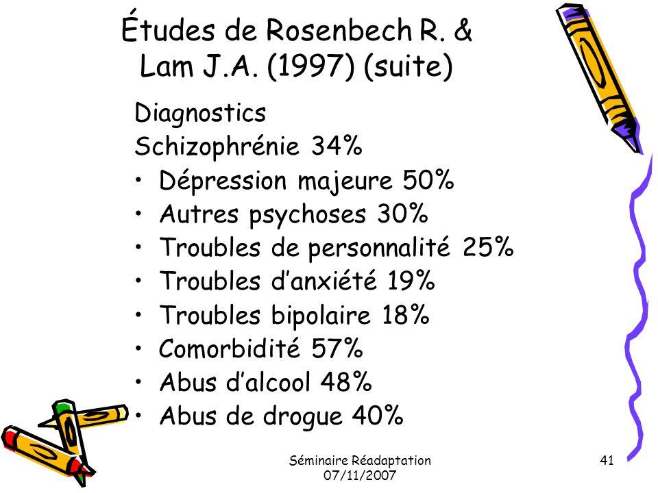 Séminaire Réadaptation 07/11/2007 41 Études de Rosenbech R. & Lam J.A. (1997) (suite) Diagnostics Schizophrénie 34% Dépression majeure 50% Autres psyc