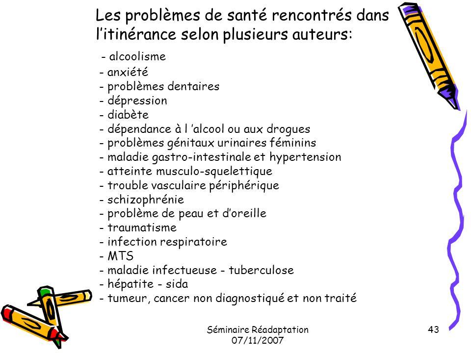 Séminaire Réadaptation 07/11/2007 43 Les problèmes de santé rencontrés dans litinérance selon plusieurs auteurs: - alcoolisme - anxiété - problèmes de
