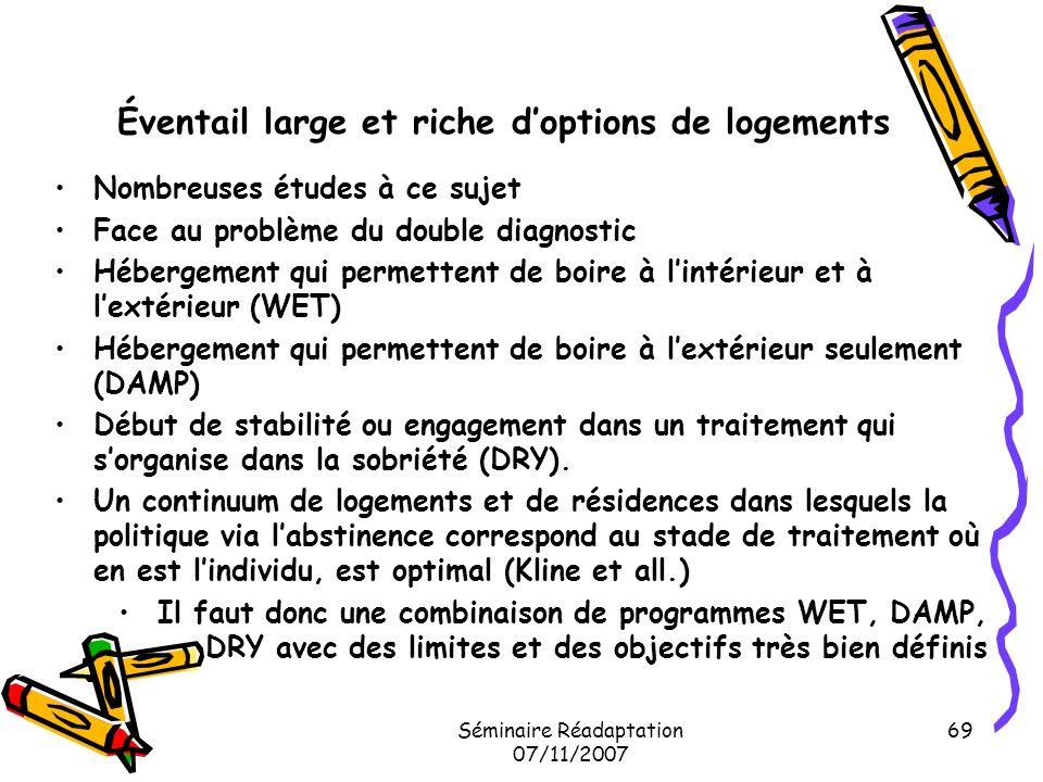 Séminaire Réadaptation 07/11/2007 69 Éventail large et riche doptions de logements Nombreuses études à ce sujet Face au problème du double diagnostic