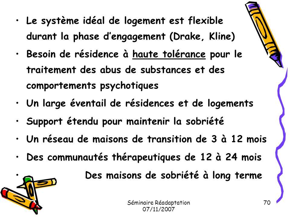 Séminaire Réadaptation 07/11/2007 70 Le système idéal de logement est flexible durant la phase dengagement (Drake, Kline) Besoin de résidence à haute