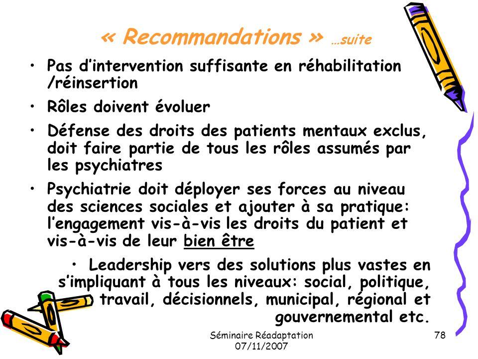 Séminaire Réadaptation 07/11/2007 78 « Recommandations » …suite Pas dintervention suffisante en réhabilitation /réinsertion Rôles doivent évoluer Défe