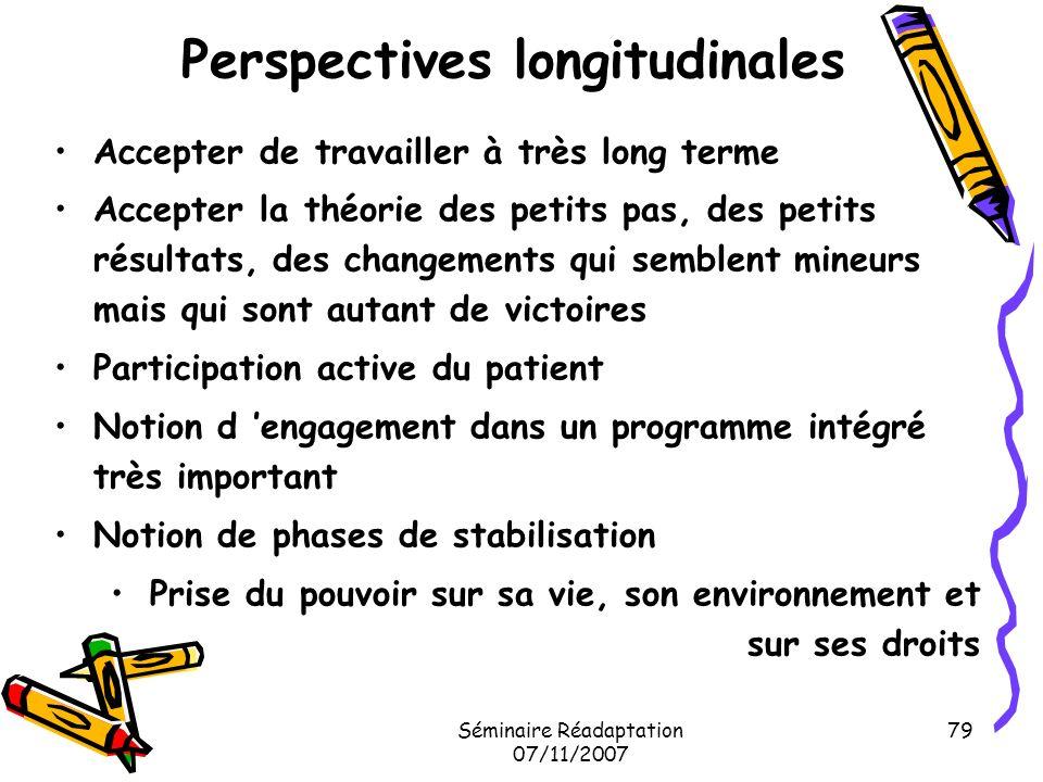 Séminaire Réadaptation 07/11/2007 79 Perspectives longitudinales Accepter de travailler à très long terme Accepter la théorie des petits pas, des peti