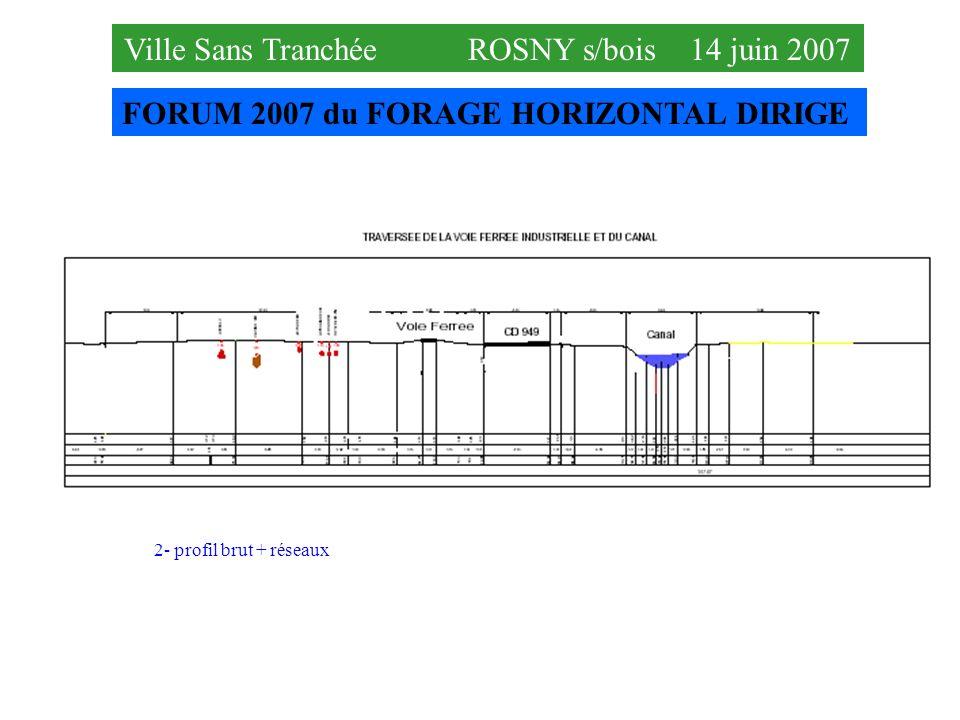 FORUM 2007 du FORAGE HORIZONTAL DIRIGE Ville Sans Tranchée ROSNY s/bois 14 juin 2007 2- profil brut + réseaux