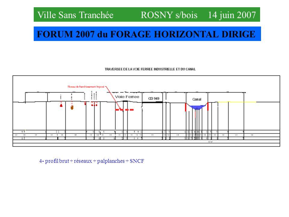 FORUM 2007 du FORAGE HORIZONTAL DIRIGE Ville Sans Tranchée ROSNY s/bois 14 juin 2007 4- profil brut + réseaux + palplanches + SNCF