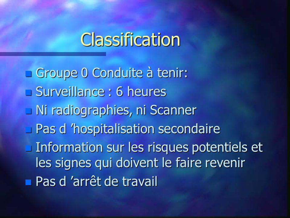 Classification n Groupe 0 Conduite à tenir: n Surveillance : 6 heures n Ni radiographies, ni Scanner n Pas d hospitalisation secondaire n Information