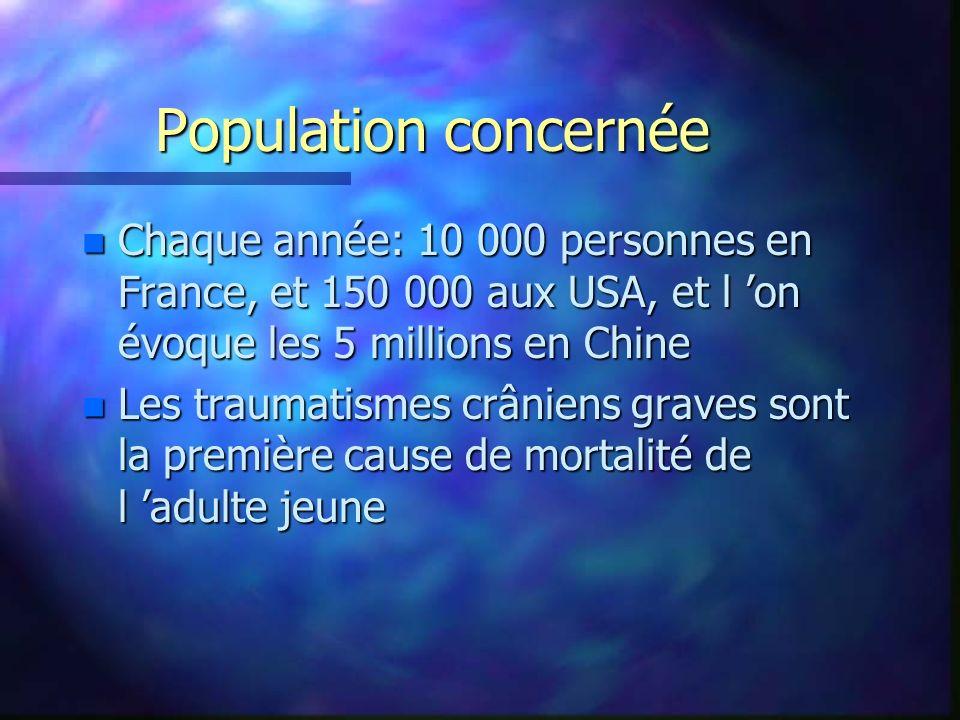 Population concernée n Chaque année: 10 000 personnes en France, et 150 000 aux USA, et l on évoque les 5 millions en Chine n Les traumatismes crânien