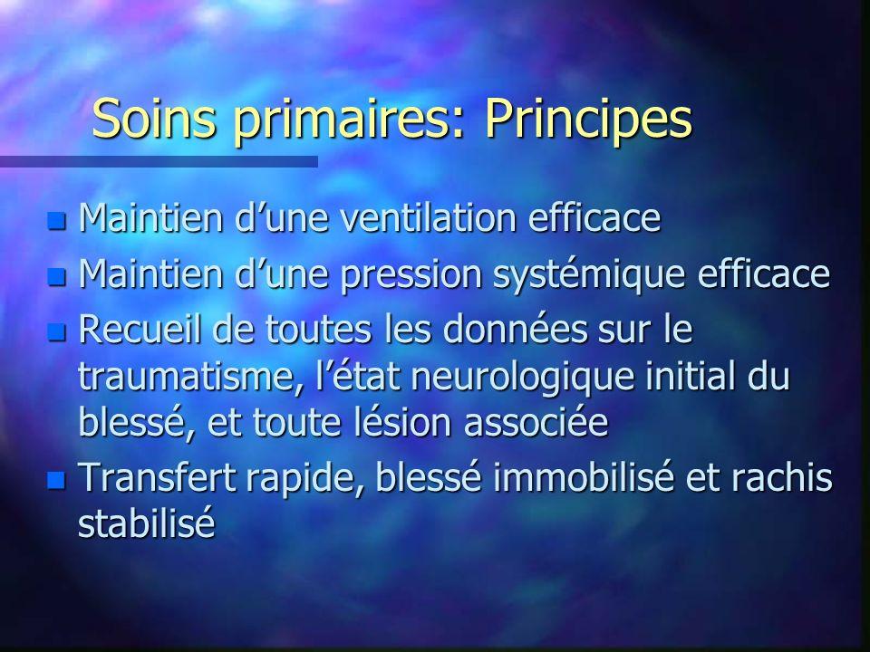 Soins primaires: Principes n Maintien dune ventilation efficace n Maintien dune pression systémique efficace n Recueil de toutes les données sur le tr