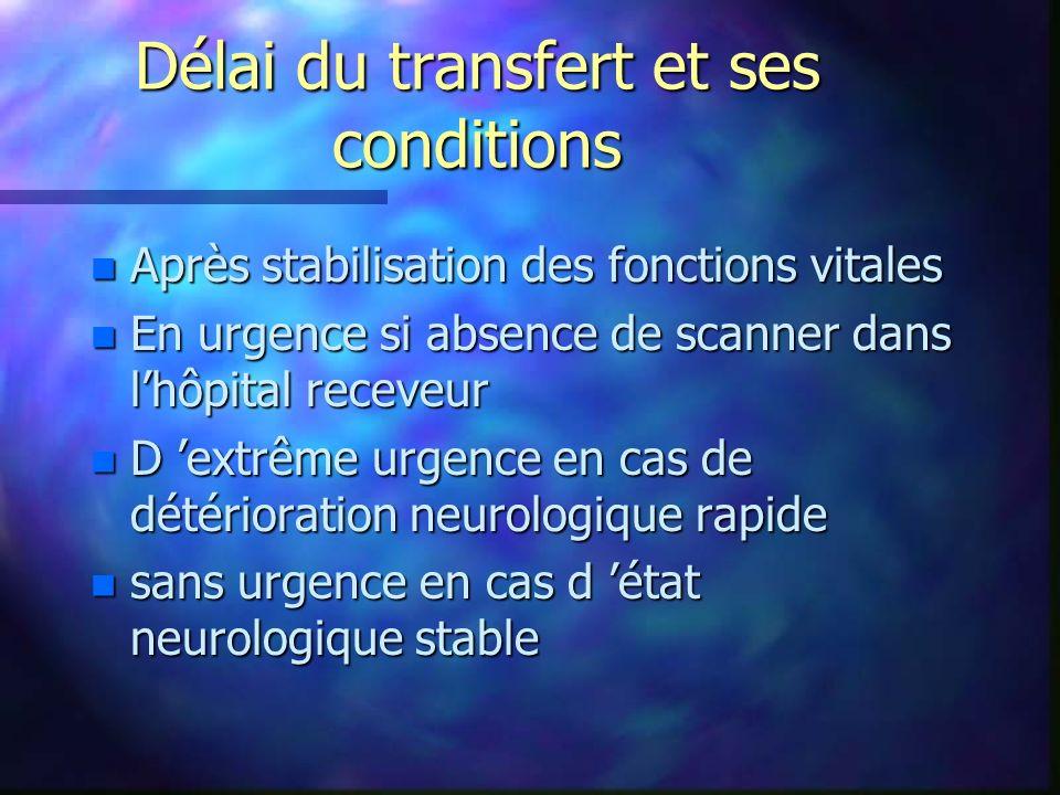 Délai du transfert et ses conditions n Après stabilisation des fonctions vitales n En urgence si absence de scanner dans lhôpital receveur n D extrême