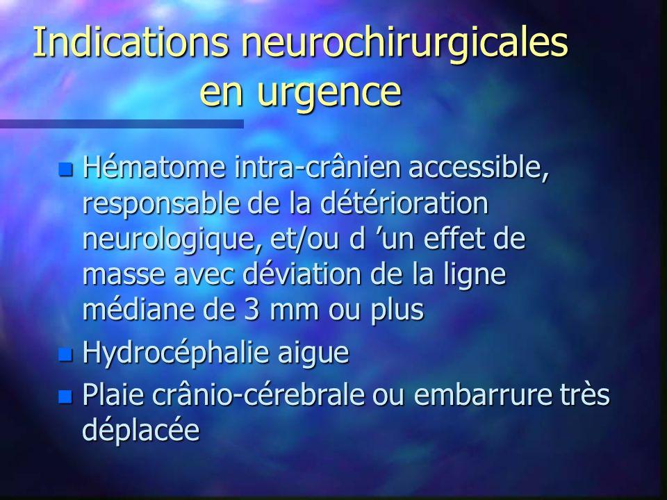 Indications neurochirurgicales en urgence n Hématome intra-crânien accessible, responsable de la détérioration neurologique, et/ou d un effet de masse