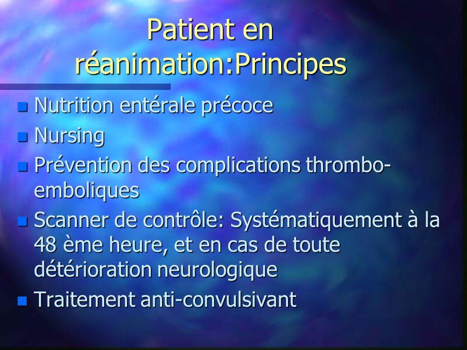 Patient en réanimation:Principes n Nutrition entérale précoce n Nursing n Prévention des complications thrombo- emboliques n Scanner de contrôle: Syst