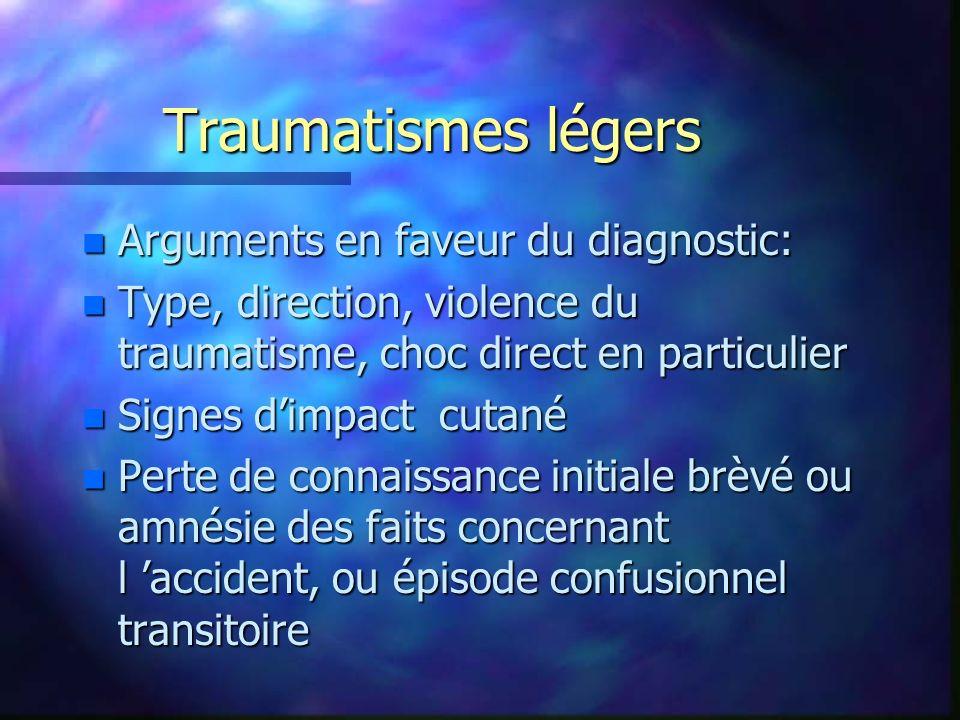 Traumatismes légers n Arguments en faveur du diagnostic: n Type, direction, violence du traumatisme, choc direct en particulier n Signes dimpact cutan