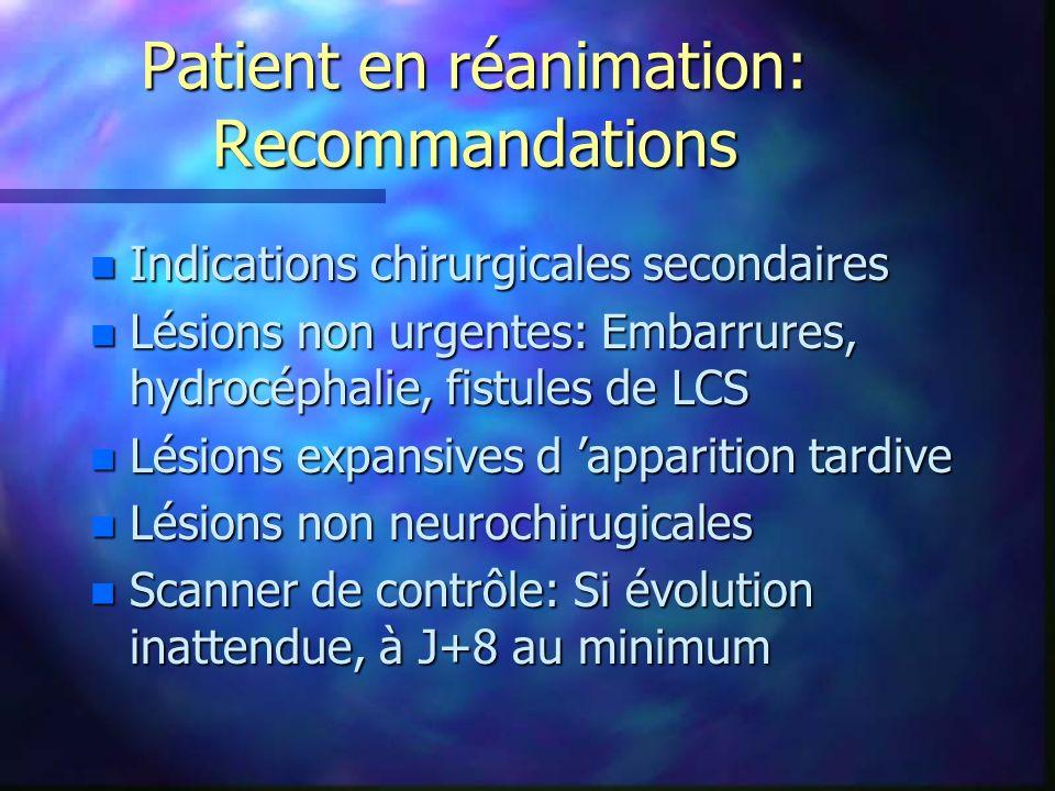 Patient en réanimation: Recommandations n Indications chirurgicales secondaires n Lésions non urgentes: Embarrures, hydrocéphalie, fistules de LCS n L