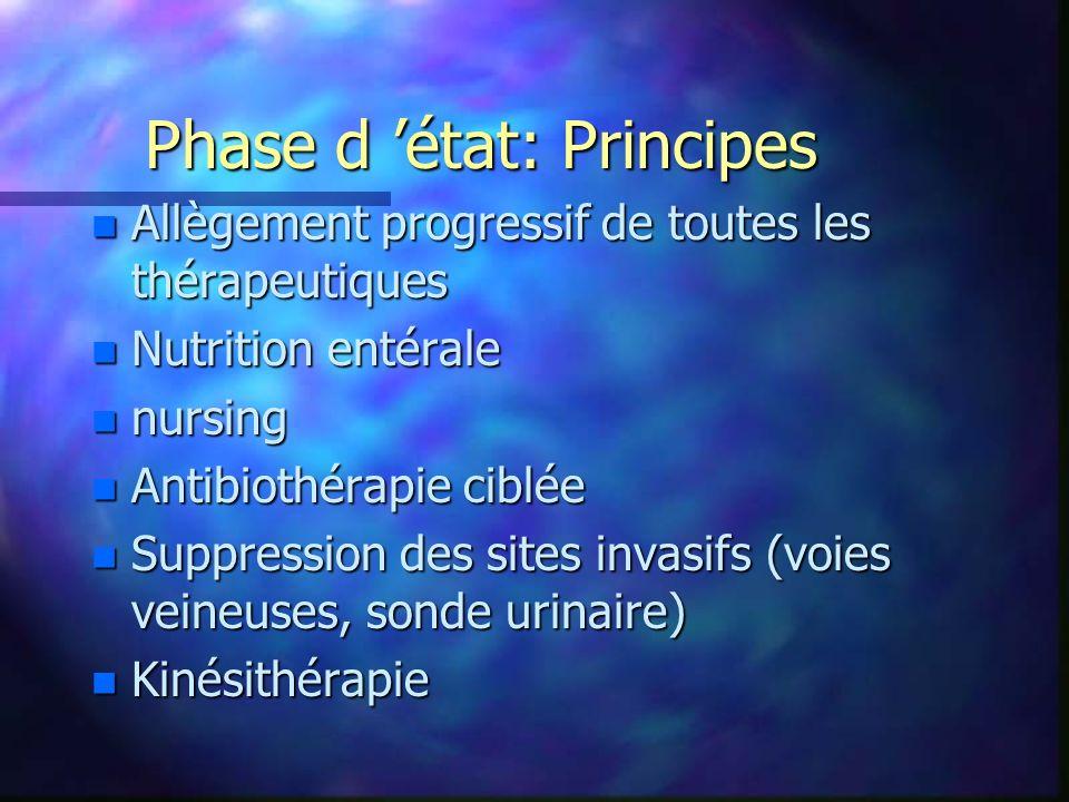 Phase d état: Principes n Allègement progressif de toutes les thérapeutiques n Nutrition entérale n nursing n Antibiothérapie ciblée n Suppression des